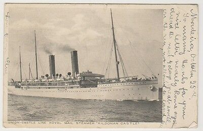 "Shipping postcard - Union Castle Royal Mail Steamer ""Kildonan Castle"" - P/U"