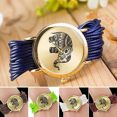 Women's Retro Wrist Quartz Watch Elephant Bracelet Braided Wristwatch Multicolor