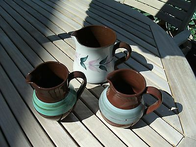 HOLKHAM Studio Pottery Trio of Jugs - 2 Signed CR Cyril Ruffles