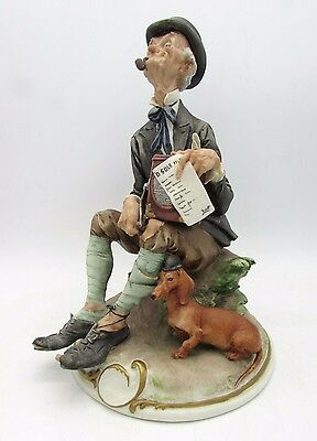 Giuseppe CAPPE Figure THE ORGAN GRINDER with DACHSHUND Barbone CAPODIMONTE