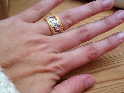 Genuine Diamond Set Into Gold & Silver Plated Stainless Steel Ring Size P