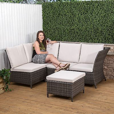 Rattan Garden Furniture Conservatory Cushioned Corner Sofa with Footstool Set