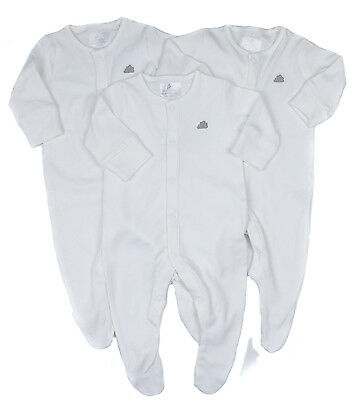 Baby Unisex Three Pack Of Sleepsuits Babygrows White NB to 12-18M Ex Store