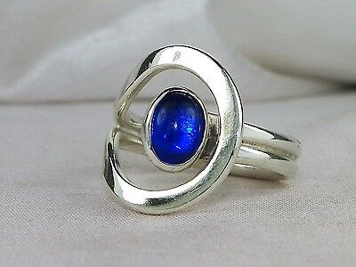 Mexico Sterling Silver .925 Blue Stone Loop Ring-Size 6.75