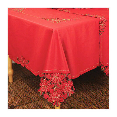 Xia Home Fashions Holiday Spirit Embroidered Cutwork Holiday Tablecloth