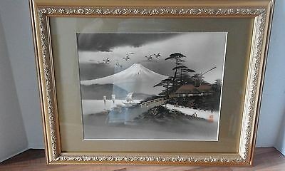 japanese art framed picture of mount fuji embelished in gold paint