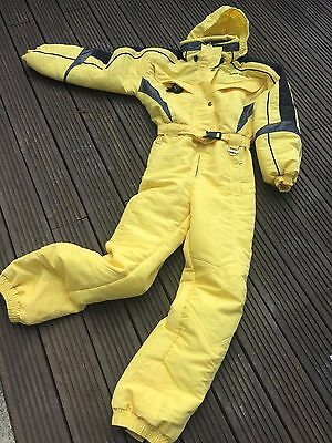 Retro Ski Suit Yellow Be Seen On The Piste In This Little Beauty Ladies 10-12