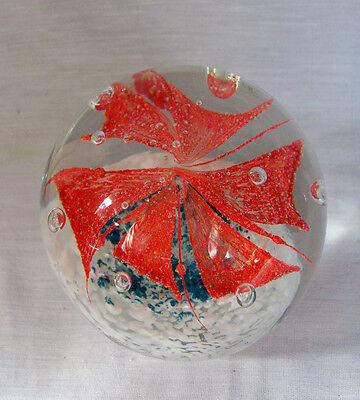 Art Glass Large Orange Pin Wheel Paperweight With White And Green Unsigned