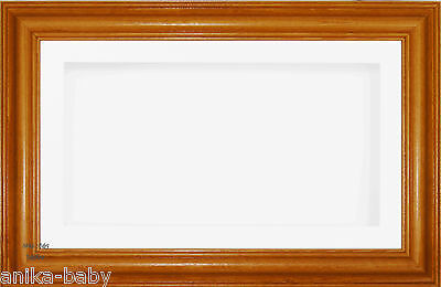 Large 3D Honey Pine Box Display White Frame Flowers Medals Objects Baby Keepsake