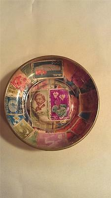 1950's Israel Israeli Postage Stamps Under Glass Brass Decoupage Pin Dish Bowl