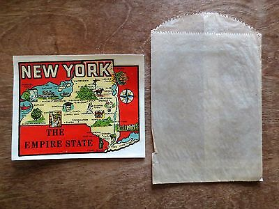 1940s New York Empire State Tourist Auto Window Sticker Decal Envelope NY