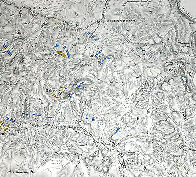 BATTLE OF ABENSBERG 20/4/18096 - NAPOLEONIC WARS, ALISON'S ATLAS 1850 map 54
