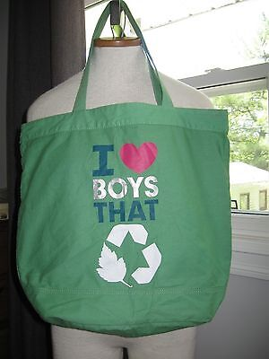 I LOVE BOYS THAT recycle green ECO friendly reusable tote beach bag carry all