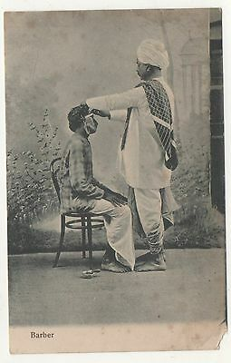 Printed P/C India The Barber giving man a Razer shave 1914 Period