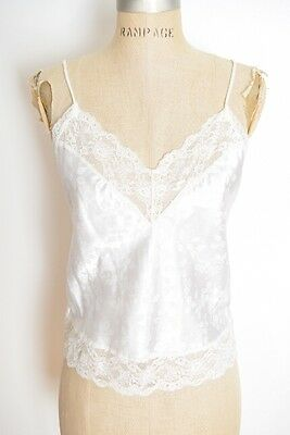 vintage 80s Christian Dior camisole white satin lace floral top shirt lingerie S
