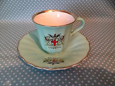 Vintage Wade Pottery with London Coat of Arms espresso coffee can/cup & saucer.