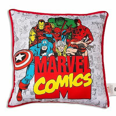 Marvel Comics Retro Cushion Canvas Reversible Iron Man Thor Spiderman Hulk New