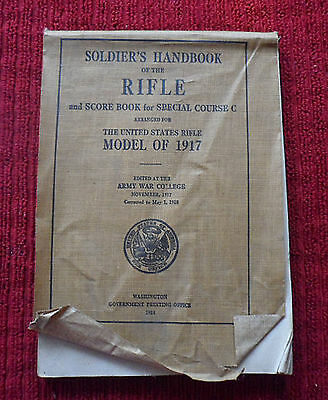 WWI 1917 ARMY WAR COLLEGE SOLDIER'S HANDBOOK OF THE RIFLE Canvas Covers
