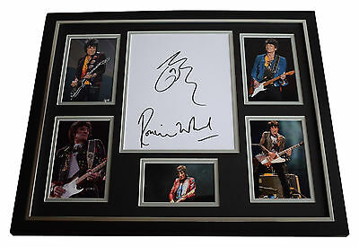 Ronnie Wood SIGNED FRAMED Photo Autograph Huge display Rolling Stones ART COA