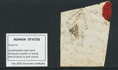 ITALY ROMAN STATES 1852, QUADRISECTED 4b ON PART COVER + CERT VF Sc#5e CAT$24000