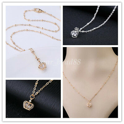 Women Girls Fashion Hollow Crown Pendant With Cute Small Crystal Necklace Choker