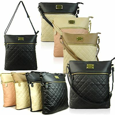 Medium Ladies Cross Body Shoulder Bags Quilted Women Leather Style Handbags New