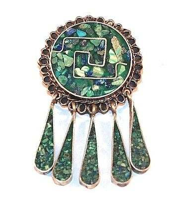 Sterling Silver Tc-79 Inlaid Green Crushed Turquoise Brooch Pendant Ka28013
