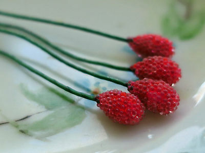 Vintage Glass Flower Stems Stem Headpins Stamen Wire Millinery Berries NOS #393