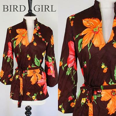 Bold Floral Print 1970S Vintage Brown Jersey Boho Chic Tunic Belted Top 12