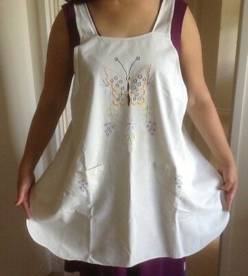 Antique Embroidered Muslin Apron, Satin Stitch Butterfly & Flowers, Pockets