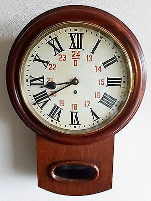 Antique Fusee Wall Clock 8 Day Station Clock 12'' Dial Mahogany Key Brass