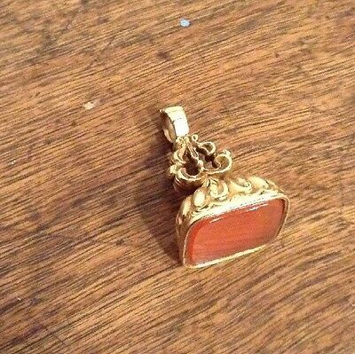 19c Antique Georgian Gold Mounted Fob Pocket Watch Chain Seal Jewellery Item