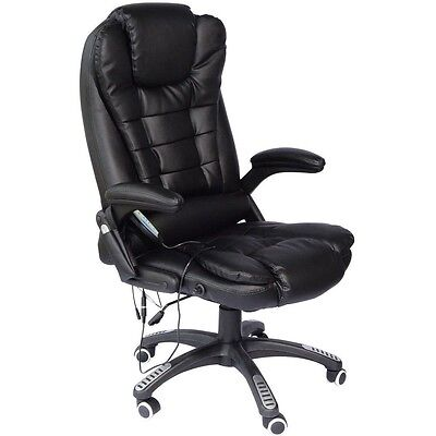 Sandhurst Black Leather Reclining Massage Office Computer Swivel Chair