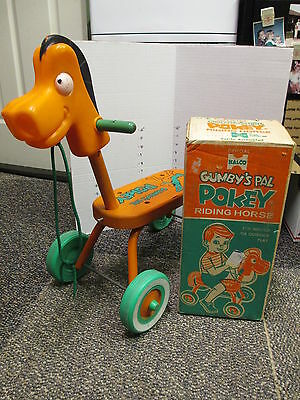 GUMBY & POKEY cartoon Halco bicycle scooter riding horse toy 1960s orig box