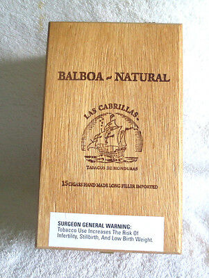 Balboa Natural Las Cabrillas Wood Cigar Box - Nice!