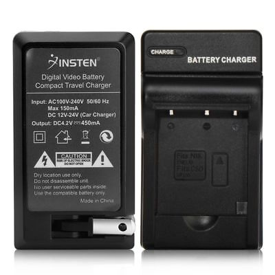 Compact Battery Charger EN-EL19 For Nikon CoolPix S3100 S3300 S4300+Car Charger