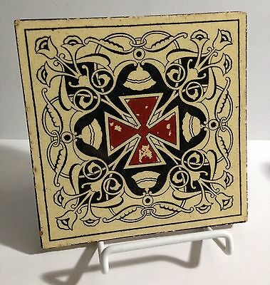 "Antique 6"" Painted Ceramic Tile of The Red Cross of Knights Templer Masonic Org"