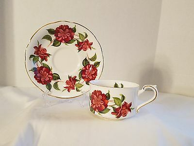 Bold Royal Standard Red Floral Tea Cup and Saucer  England Fine Bone China