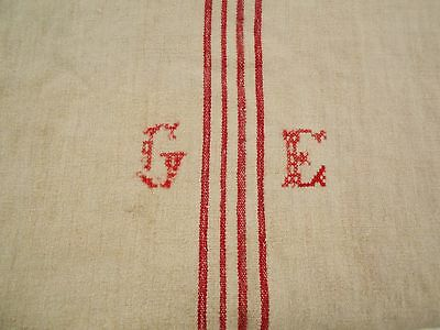 Vtg Antique RED STRIPE HEMP LINEN FEED SACK GRAIN BAG 25X69 Quilt BLANKET 71X50