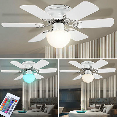 LED Ceiling Ventilator RGB Remote Control Air Fresheners Light Dimmable Cooler
