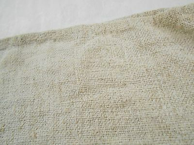 Vtg Antique PLAIN French HEMP CREAM BEIGE LINEN Fabric FEED SACK GRAIN BAG 22x45