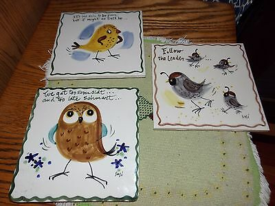 Bird Tiles Lot of 3 Susi Made in USA