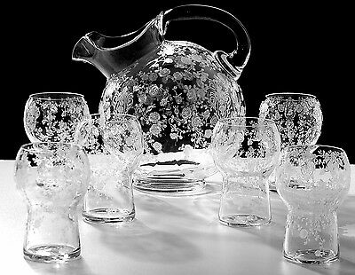 Cambridge Etched ROSE POINT Ball Pitcher & 6 Tumblers RARE