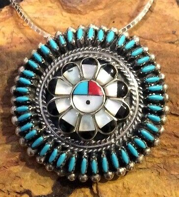 Zuni Native American Turquoise Needle Point Gods Eye Sterling Silver Pendant