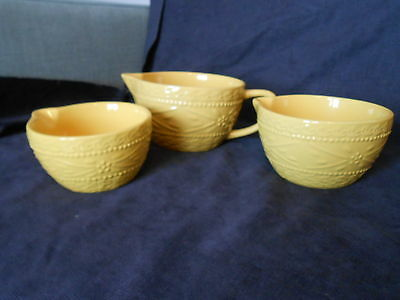 3 pc. set Temp-tations Presentable Embossed Yellow Old World Mixing Bowls