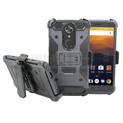 Rugged Hybrid Rubber Holster Hard Armor Case Clip Cover For ZTE Max XL N9560