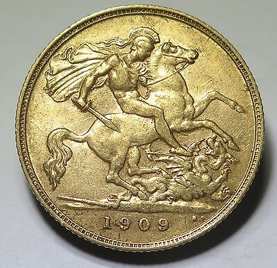 UK - 1909 Edward VII Gold Half Sovereign VF