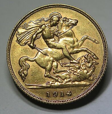 UK - 1914 George V Gold Half Sovereign gVF