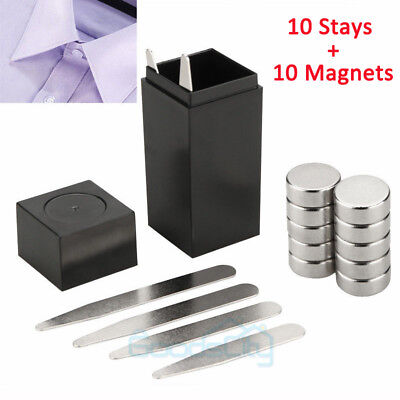 21pcs Magnetic Metal Collar Stays with COATED XL Magnet Insert In Box For Shirt