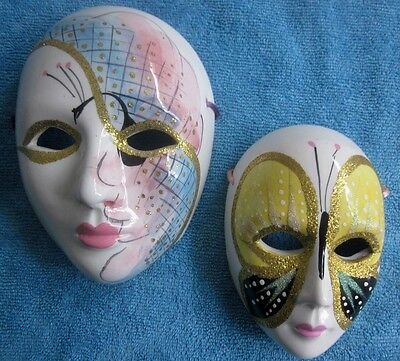 2 SELEZIONE ITALY VENETIAN decorative Display porcelain MASQUERADE MASKS
